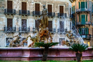 92164273 - the fountain on the square archimedes in syracuse. sicily, italy